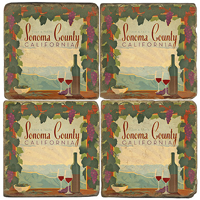 Sonoma County Coaster Set. License artwork by Anderson Design Group. Tumbled Italian Marble Giftware by Studio Vertu.