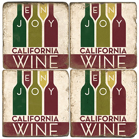 California Wine Coaster Set. License artwork by Anderson Design Group. Tumbled Italian Marble Giftware by Studio Vertu.