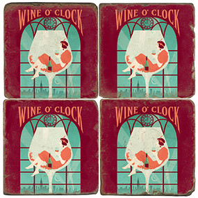Wine O' Clock Coaster Set. License artwork by Anderson Design Group. Tumbled Italian Marble Giftware by Studio Vertu.