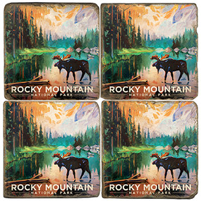 Rocky Mountain National Park Coaster Set. Handmade by Studio Vertu. License artwork by Anderson Design Group.