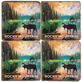 Rocky Mountain National Park Coaster Set. Handmade by Studio Vertu. License artwork by Anderson Design Group.