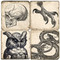 B&W Halloween Coaster Set.  Tumbled Italian Marble by Studio Vertu.