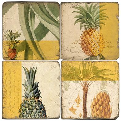 Pineapple Botanical Coaster Set.  Tumbled Marble Giftware by Studio Vertu.