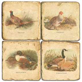 Game Birds Coaster Set.  Hand Made Marble Giftware by Studio Vertu.