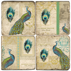 Peacock Collage Coaster Set.  Hand Made Marble Giftware by Studio Vertu.