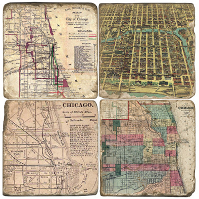 Chicago Map Coaster Set.  Hand Made Marble Giftware by Studio Vertu.