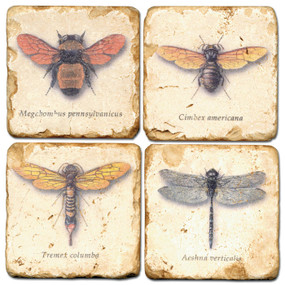Flying Bugs Coaster Set. Hand Made Marble Giftware by Studio Vertu.