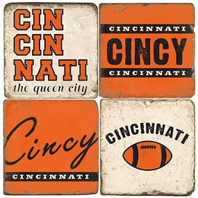 Cincinnati Football Themed Coaster Set.  Handmade Marble Giftware by Studio Vertu.