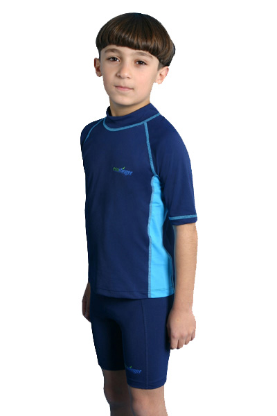 boys' sun protective swimwear Nothing like a sunburn dampens an enjoyable day at the water's edge. Beaches, pools, lakes, waterparks—as much fun as splashing around can be, the sunburn your boy often comes home with leads to days or irritation.