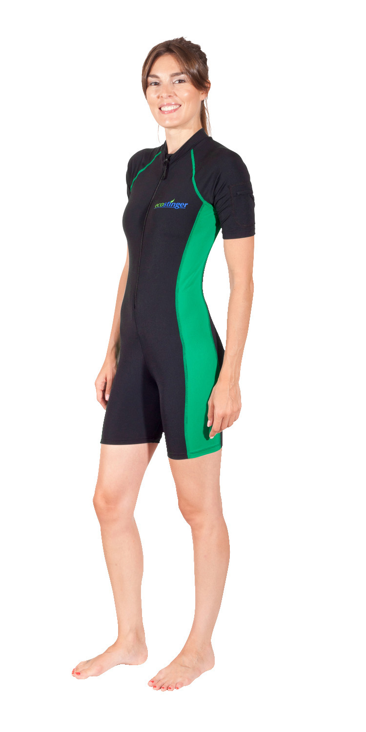 Women Sunsuit Short Sleeves and Legs UV Protective Swimsuit