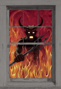 Devil's Hell Poster as seen in a window