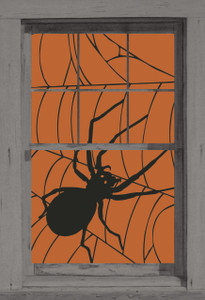 spider web poster as seen in a window