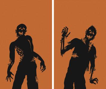 2 part Zombie silhouette halloween window posters