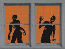 zombie posters as seen in adjoining windows