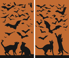 Cats and Bats 2 part Halloween Window Posters