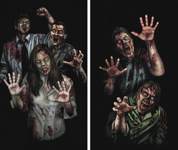 Zombie Asylum 2 part Halloween Window Posters