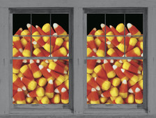 Candy Corn Posters as seen in adjoining windows