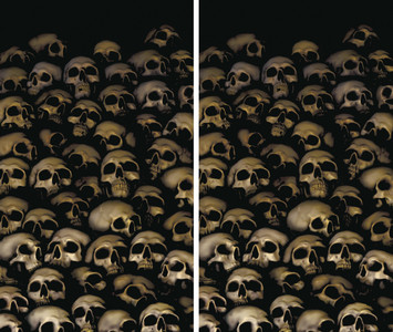 2 part Catacomb Skulls Halloween Window Posters