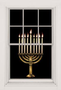 Menorah Decorative Window Poster for hanukkah as seen in a window