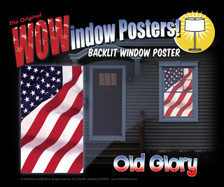 Marketing Poster of Old Glory USA American Flag Decorative Window Poster as seen in a house at night illuminated with interior lights.