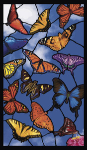 Butterflies Stained Glass Decorative Window Poster