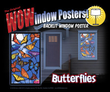 Butterflies Stained Glass Decorative Window Poster as seen in a house