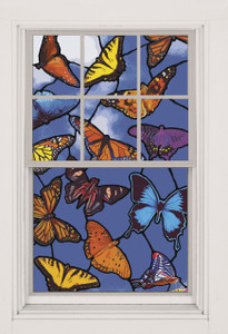 Butterflies Stained Glass Decorative Window Poster as seen in a window