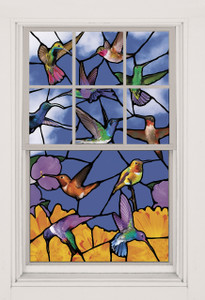 Hummingbirds Stained Glass Decorative Window Poster as seen in a window