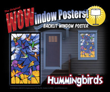 Hummingbirds Stained Glass Decorative Window Poster as seen in a house