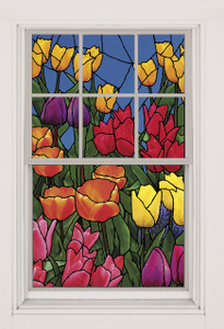 Spring Flowers Stained Glass Decorative Window Poster as seen in a window