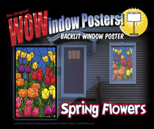 Spring Flowers Stained Glass Decorative Window Poster as seen in a house