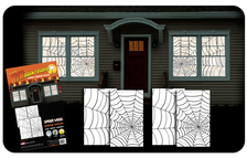 2 two packs of double window spider web halloween posters as seen in a house