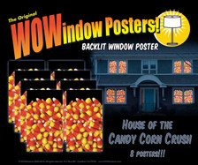 House showing 8 Candy Corn posters in windows