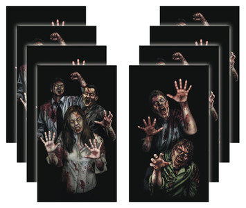 8 pack of House of Zombie Apocalypse Zombie Halloween decorative posters