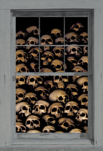 decorative halloween poster of skulls as seen behind a window