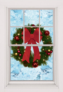 Christmas Wreath Poster as seen in a window -  Decorative Christmas Poster