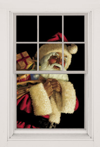 Santa Claus as seen in a window