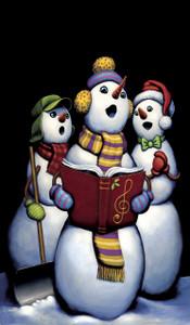 Singing Snowmen Carolers Window Poster