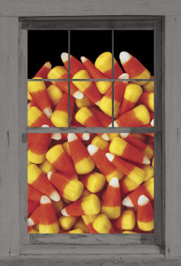 Candy Corn Poster as seen in a window