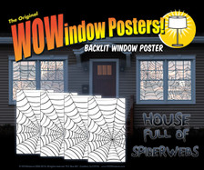 4 spider web window posters as seen in a house