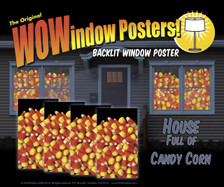 House showing 4 Candy Corn posters in windows