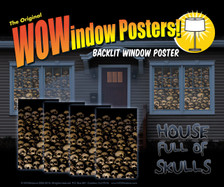 House showing 4 skull posters in windows