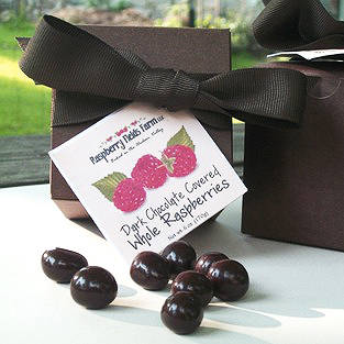 A delicious gift of rich and smooth dark chocolate covered whole raspberries