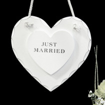 White Wooden Just Married Hanging Heart