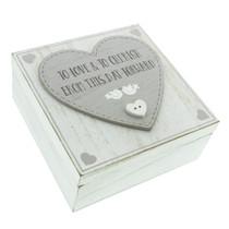 Love Story MDF Square Keepsake Box 'Love And Cherish'