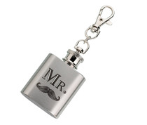 Mini Silver Flask Mr. With Mustache