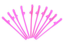 Pack of 10 Hot Pink Willy Straws