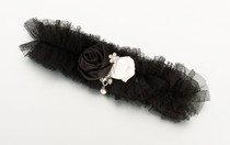Tulle Garter With Jewel Black