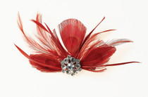 Feather Hair Clip Red