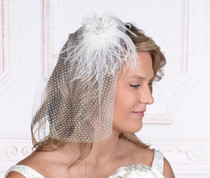 White Veil With Marabou Feather